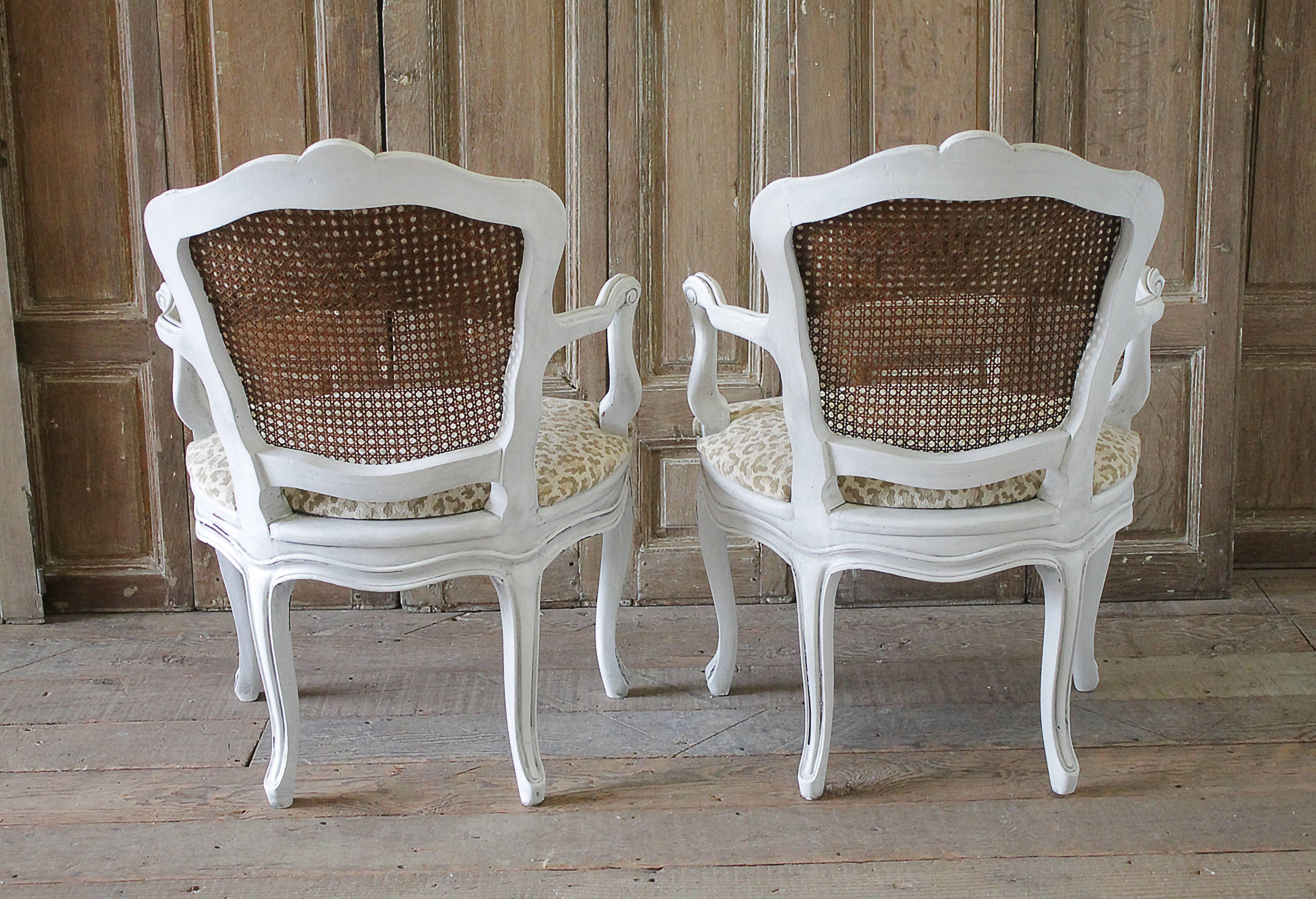 Pair of Antique Country French Cane Chairs with Leopard Upholstery For Sale 2 & Pair of Antique Country French Cane Chairs with Leopard Upholstery ...