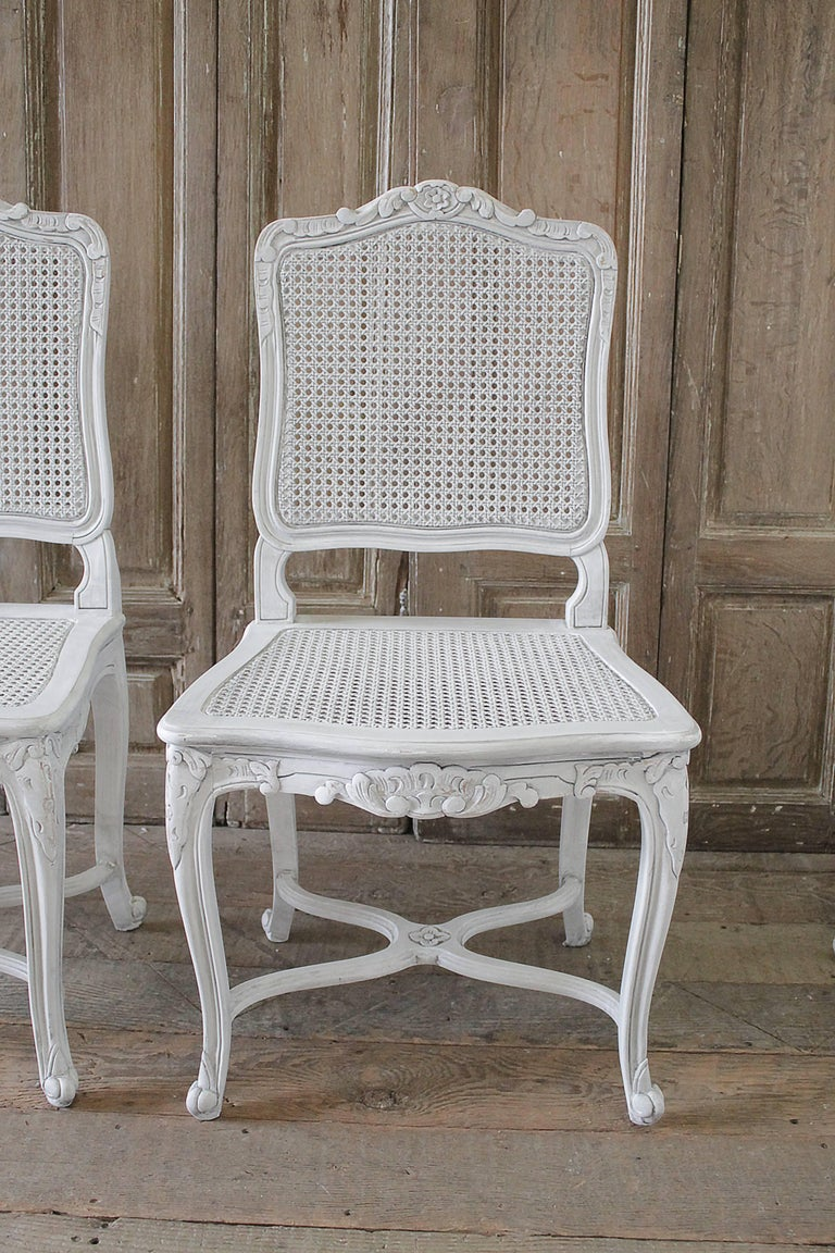 Seat Of Four Antique French Country Style Cane Back Dining