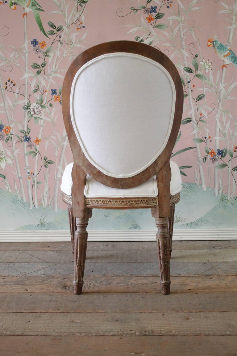 19th Century Antique Louis XVI Style Vanity Chair Upholstered in Belgian Linen For Sale 1