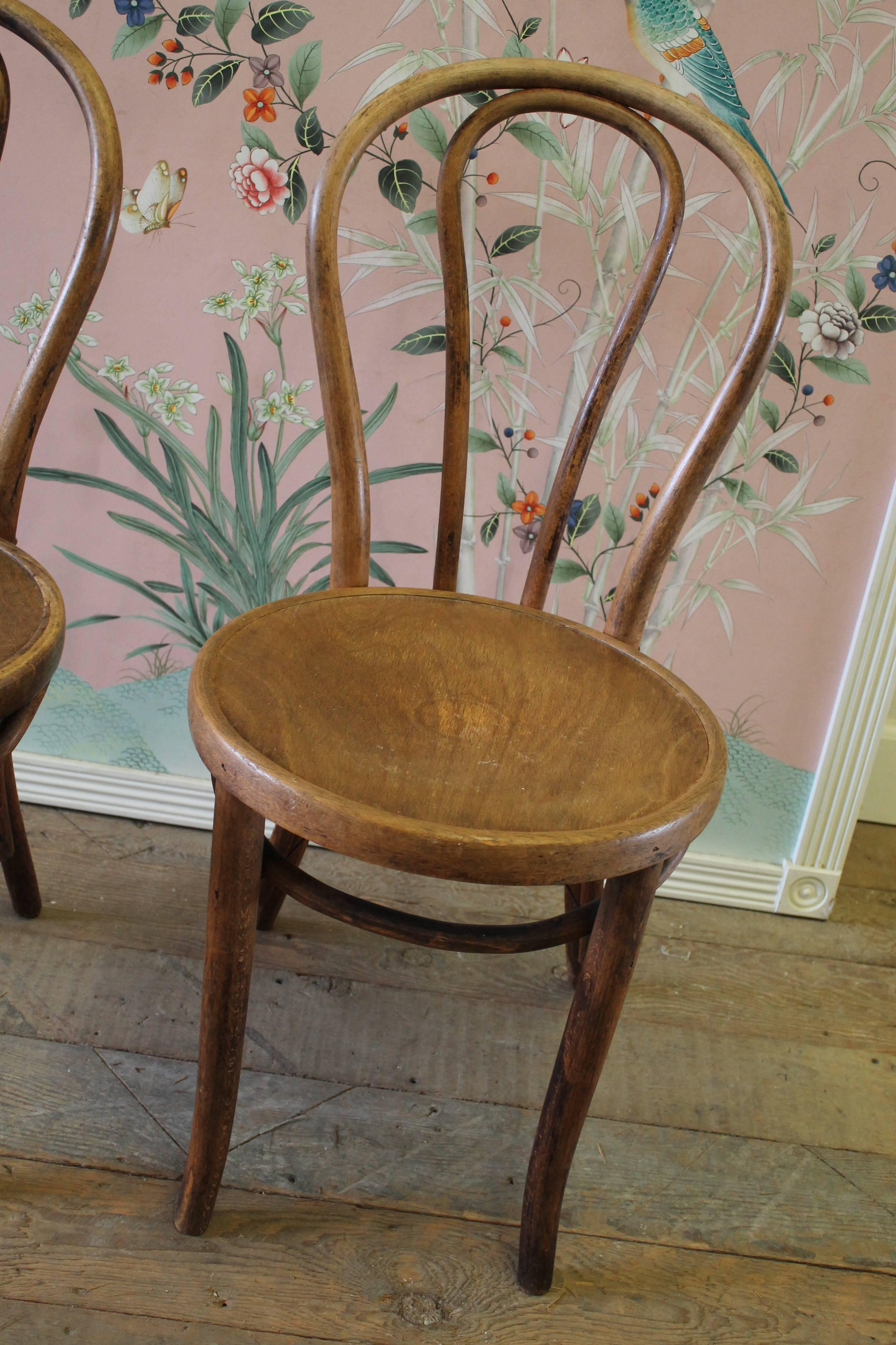 Pair Of Vintage Bentwood Chairs With Embossed Wood Seat Each Chair Is Very  Sturdy, With