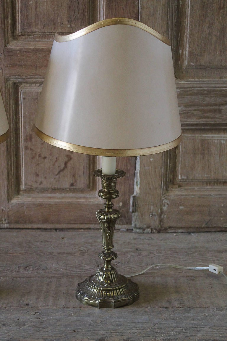 Pair of Brass Candlestick Lamps with Parchment Shades In Good Condition For Sale In Brea, CA
