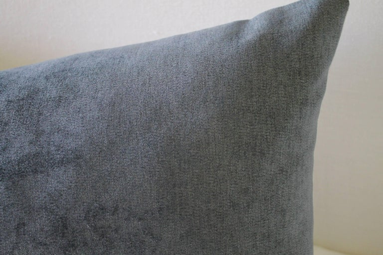 Our velvet and linen accent pillow is custom made in our Full Bloom Cottage studios, a beautiful deep grey with blue tones has a vintage velvet look, the back is 100% pure natural Belgian linen. Zipper closure, overlocked seams, each pillow is