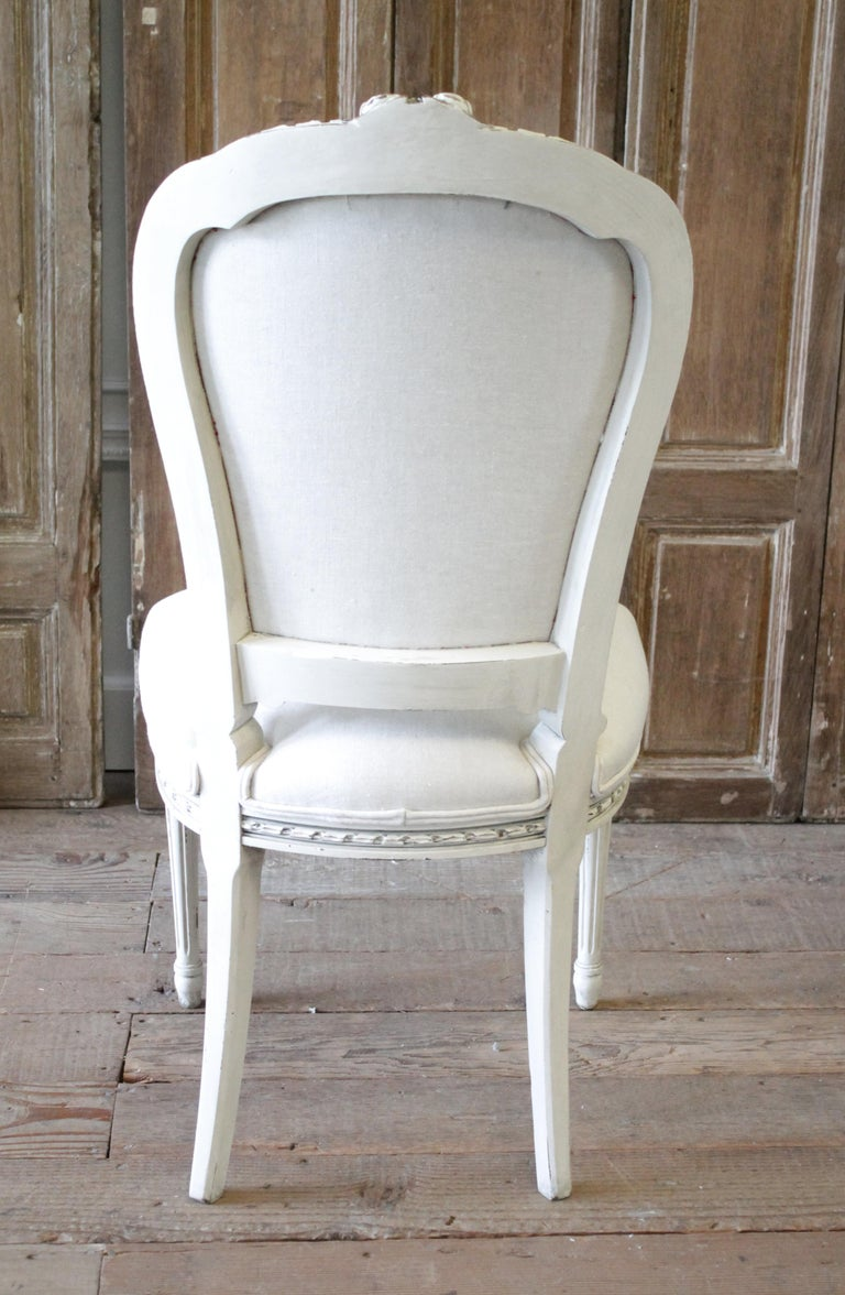 20th Century Louis XVI Style Painted Dining Chairs with Linen Upholstery For Sale 7