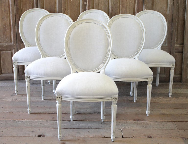 Set of 6 Louis XVI style painted and upholstered dining chairs