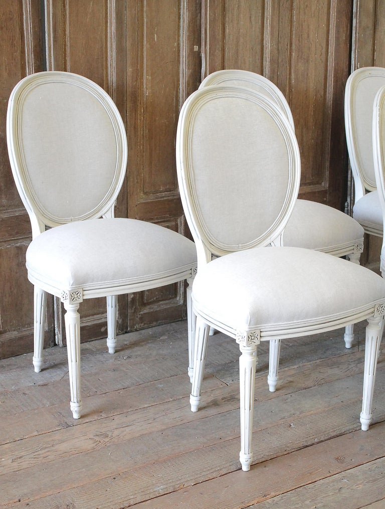 Set of 6 Louis XVI Style White Painted and Upholstered Dining Chairs In Good Condition For Sale In Brea, CA