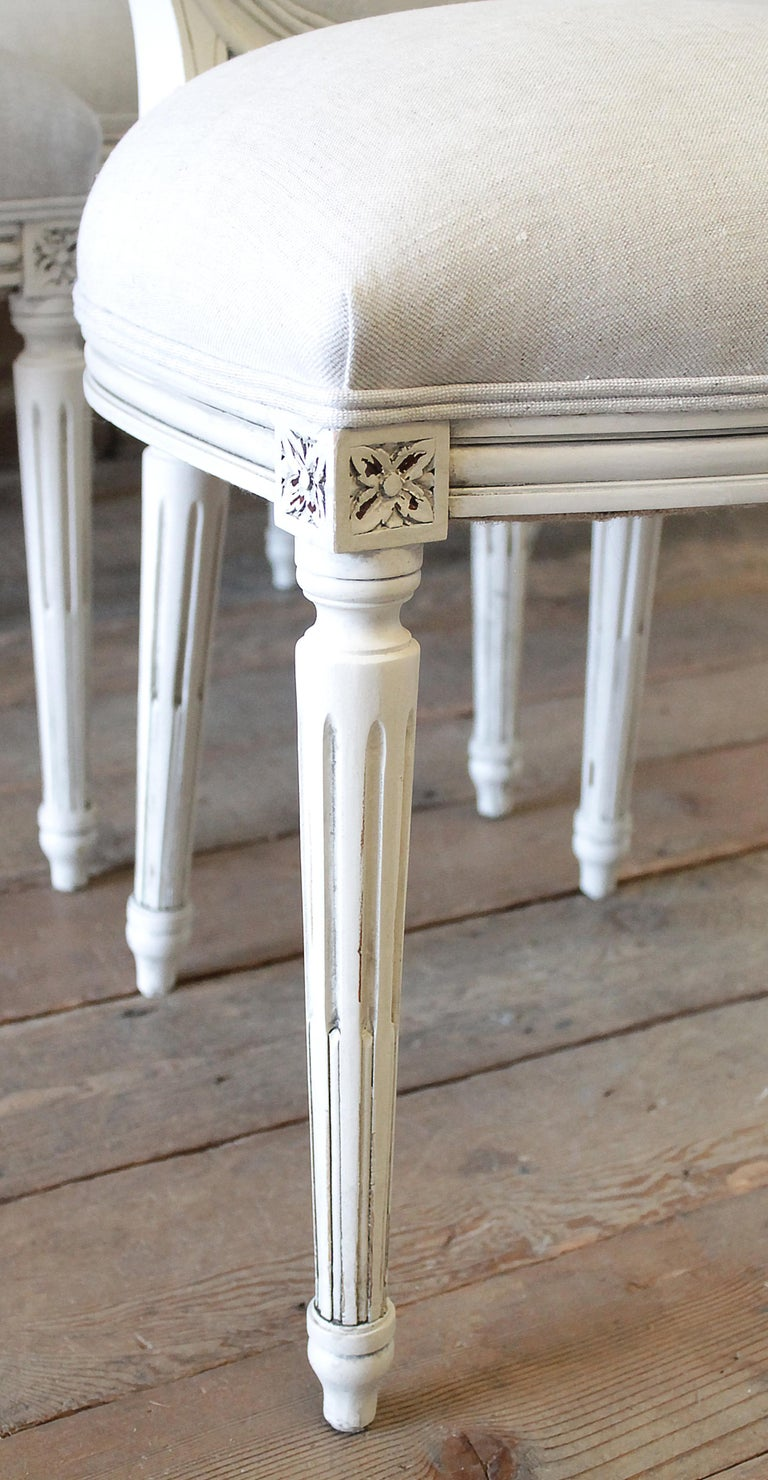Set of 6 Louis XVI Style White Painted and Upholstered Dining Chairs For Sale 6