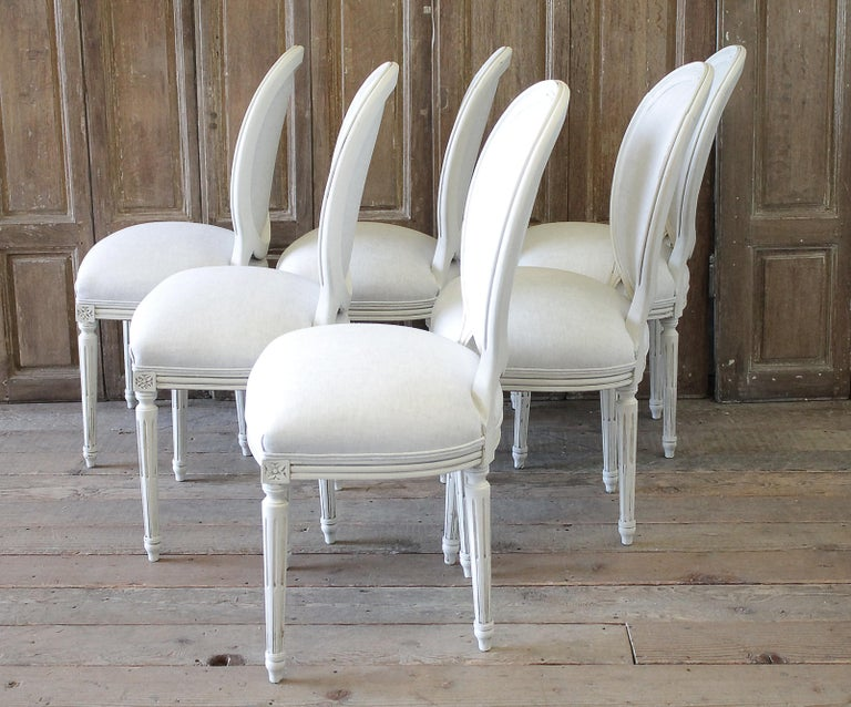 Set of 6 Louis XVI Style White Painted and Upholstered Dining Chairs For Sale 8