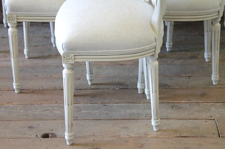 Set of 6 Louis XVI Style White Painted and Upholstered Dining Chairs For Sale 7