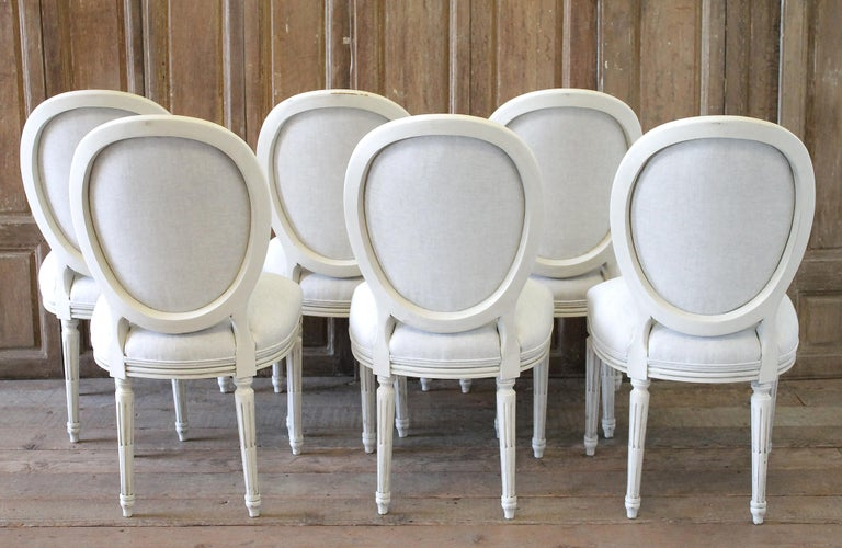 Set of 6 Louis XVI Style White Painted and Upholstered Dining Chairs For Sale 12
