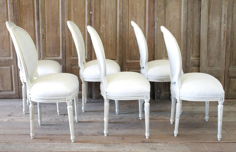 Set of 6 Louis XVI Style White Painted and Upholstered Dining Chairs For Sale 9