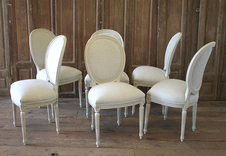 Set of 6 Louis XVI Style White Painted and Upholstered Dining Chairs For Sale 10
