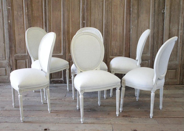 Set of 6 Louis XVI Style White Painted and Upholstered Dining Chairs For Sale 11