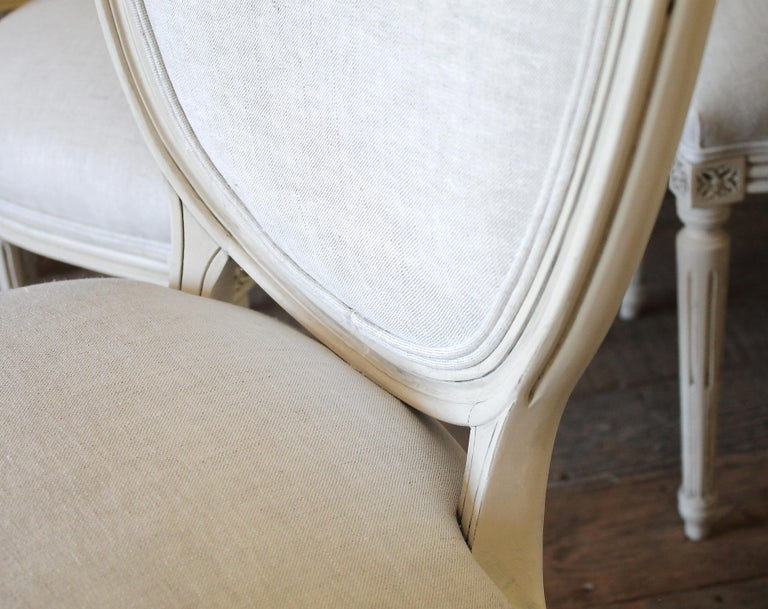 Set of 6 Louis XVI Style White Painted and Upholstered Dining Chairs For Sale 4