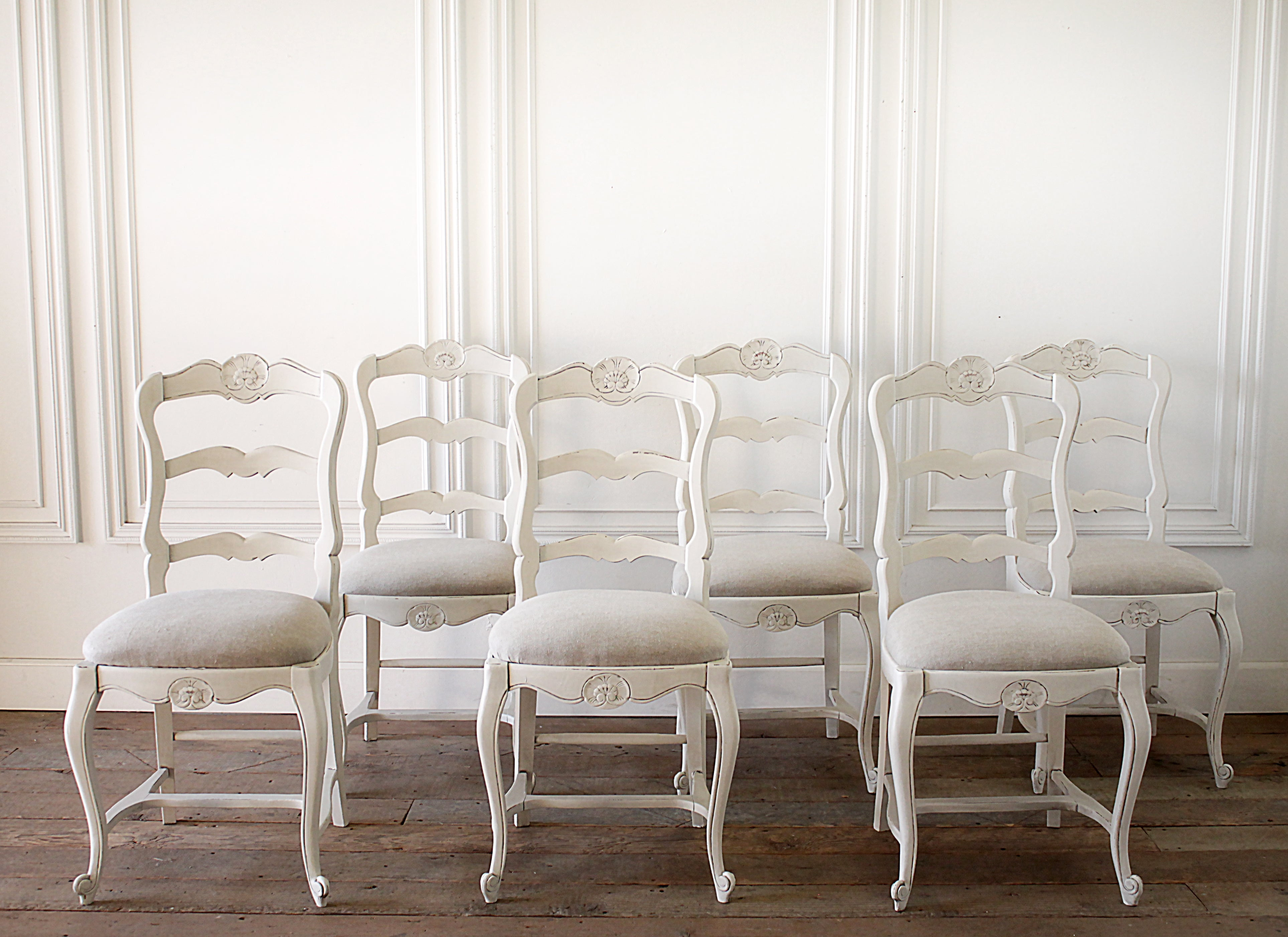 Set Of 6 Painted And Upholstered French Country Style Dining Chairs For  Sale At 1stdibs