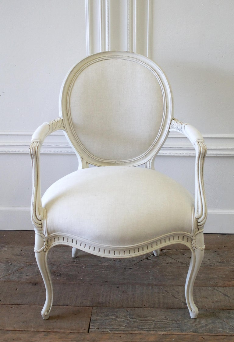 Set of Eight Painted and Upholstered Louis XV Style Dining Chairs In Good Condition For Sale In Brea, CA