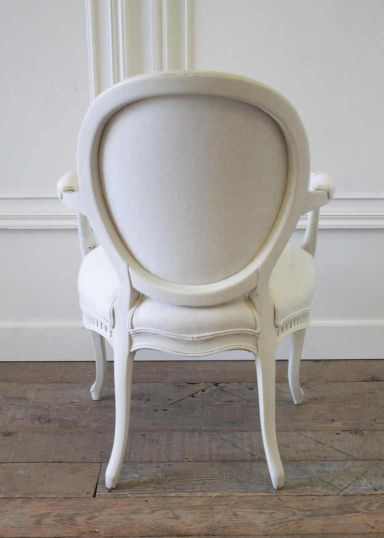 Set of Eight Painted and Upholstered Louis XV Style Dining Chairs For Sale 9