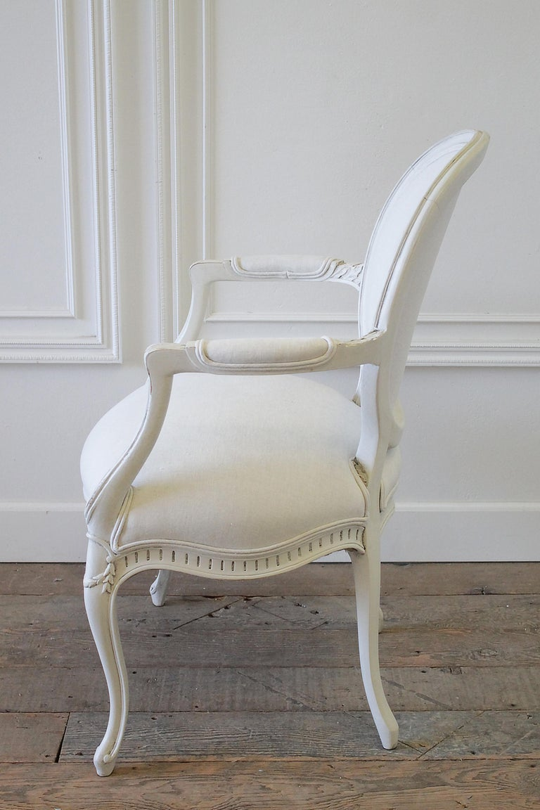 Set of Eight Painted and Upholstered Louis XV Style Dining Chairs For Sale 7