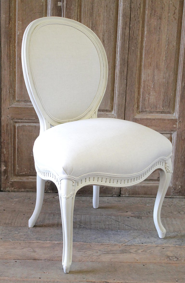 Set of Eight Painted and Upholstered Louis XV Style Dining Chairs For Sale 5