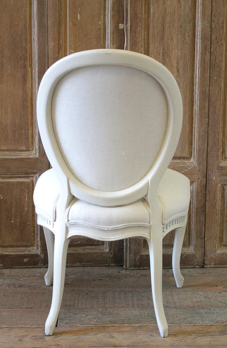 Set of Eight Painted and Upholstered Louis XV Style Dining Chairs For Sale 10
