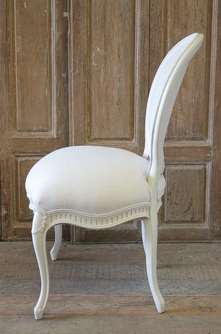 Set of Eight Painted and Upholstered Louis XV Style Dining Chairs For Sale 6