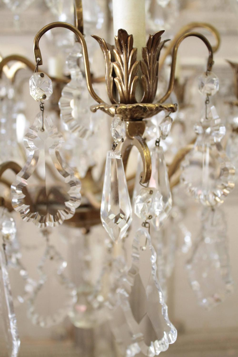 Antique French Crystal and Bronze Chandelier For Sale at