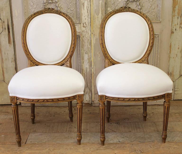 Marvelous 19th Century Louis XVI Pair Of Ballroom Chairs For Sale