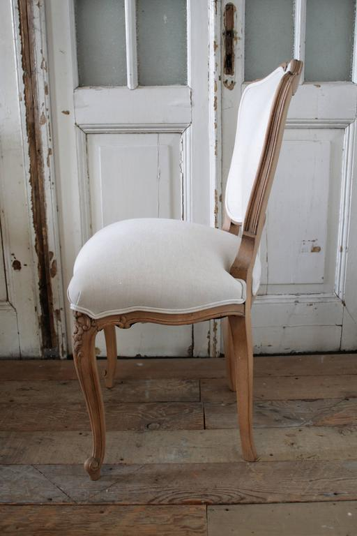 Linen Louis XV Style French Country Dining Chairs