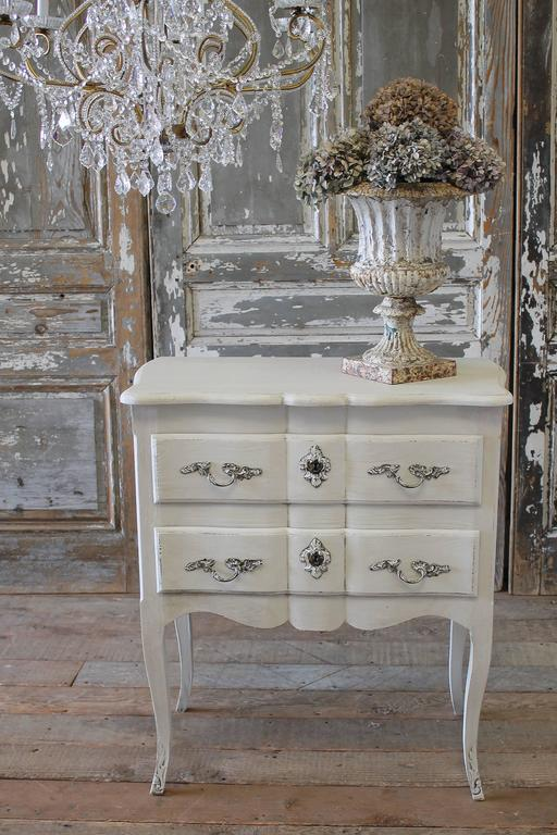 19th Century Painted French Country Side Table Commode Or