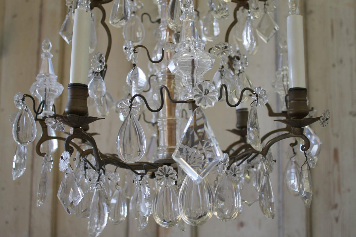 Antique French Bronze and Crystal Chandelier For Sale at