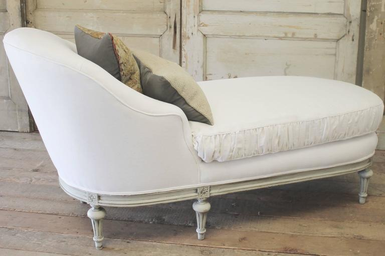 Antique louis xvi style french chaise longue in belgian for Chaise style louis xvi occasion