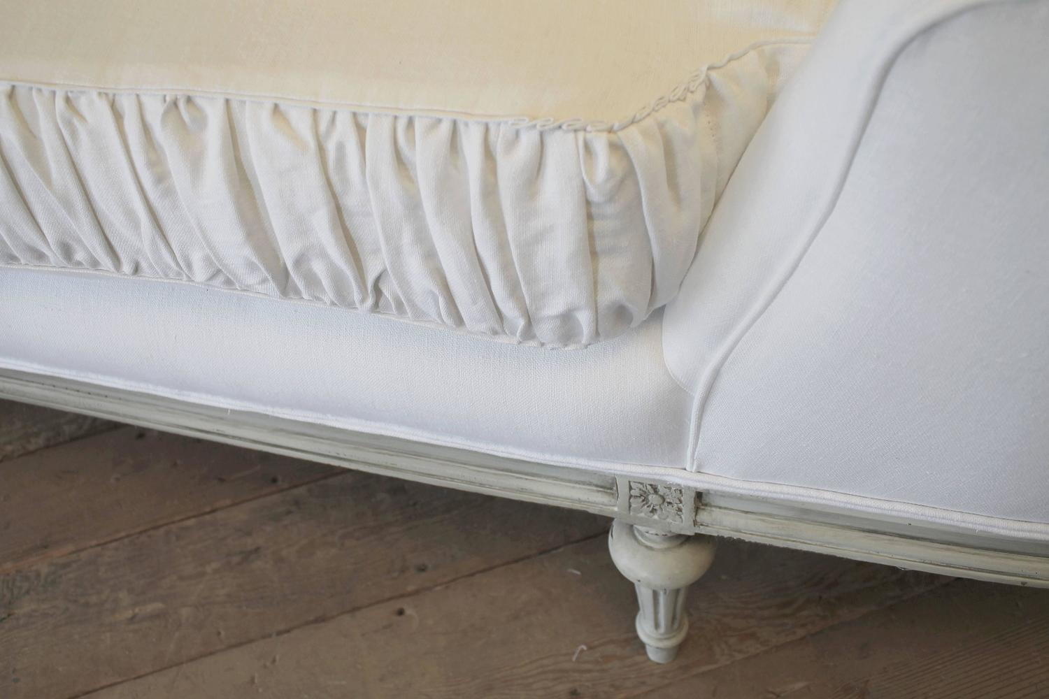 antique louis xvi style chaise longue in belgian linen at 1stdibs