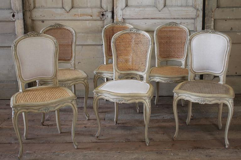 797df5a54c0c 19th Century Louis XV Antique French Cane Dining Chairs with Original Paint  For Sale. Beautiful set of six side dining chairs. There are two  upholstered ...