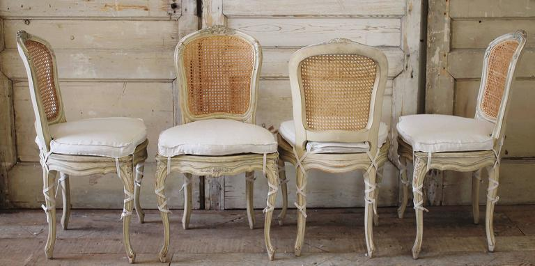 5ab23b8bb60d Carved 19th Century Louis XV Antique French Cane Dining Chairs with Original  Paint For Sale