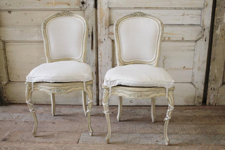 4fb1e372120c 19th Century Louis XV Antique French Cane Dining Chairs with Original Paint  In Good Condition For