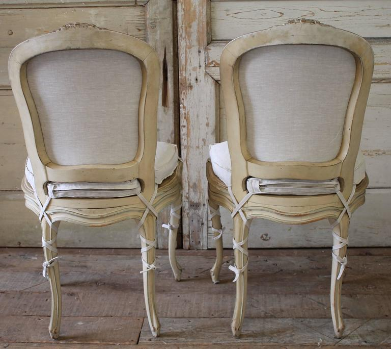 3e79fd27b66e Wood 19th Century Louis XV Antique French Cane Dining Chairs with Original  Paint For Sale