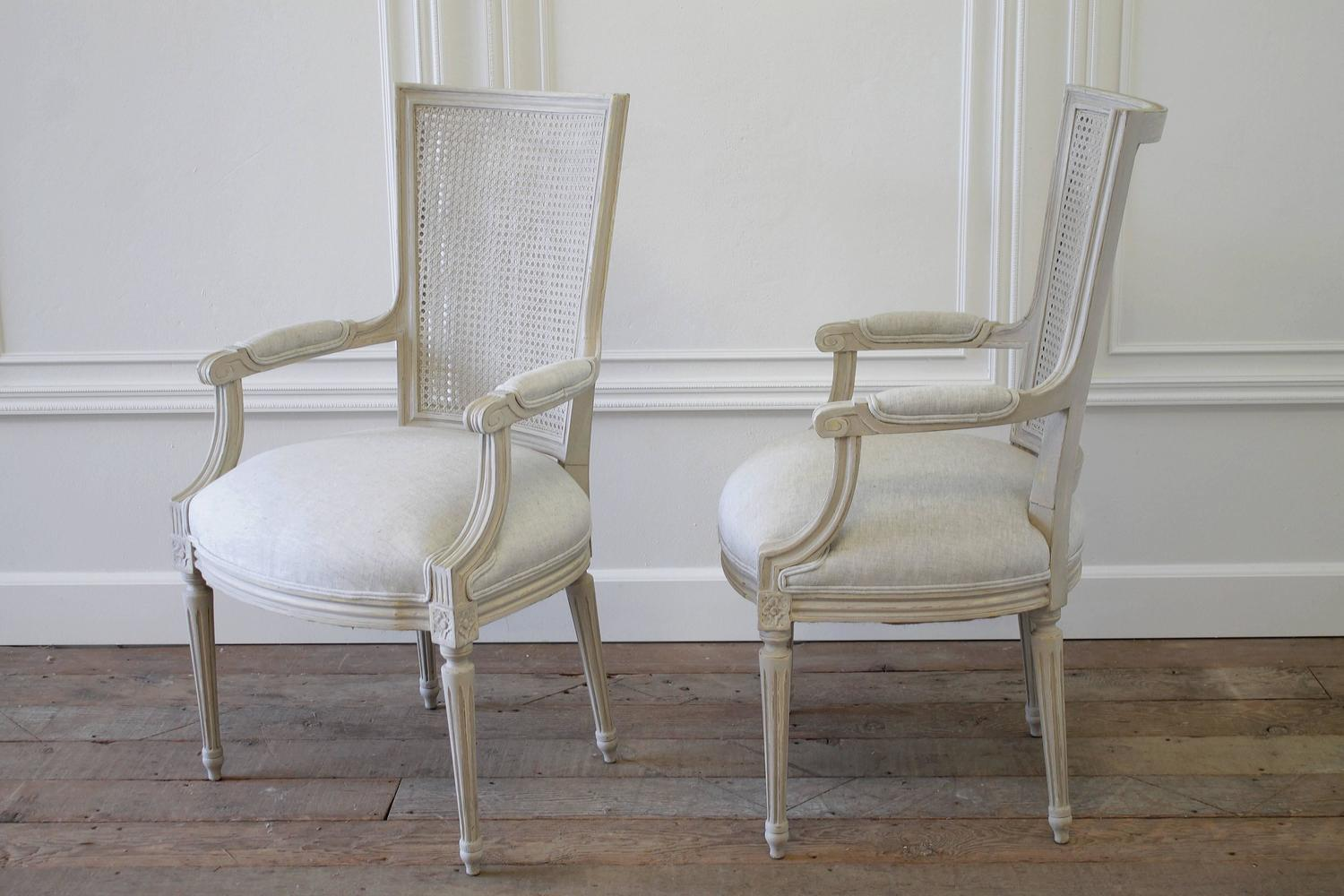 Set Of 11 Painted Antique Louis XVI Style Cane And Upholstered Dining Chairs