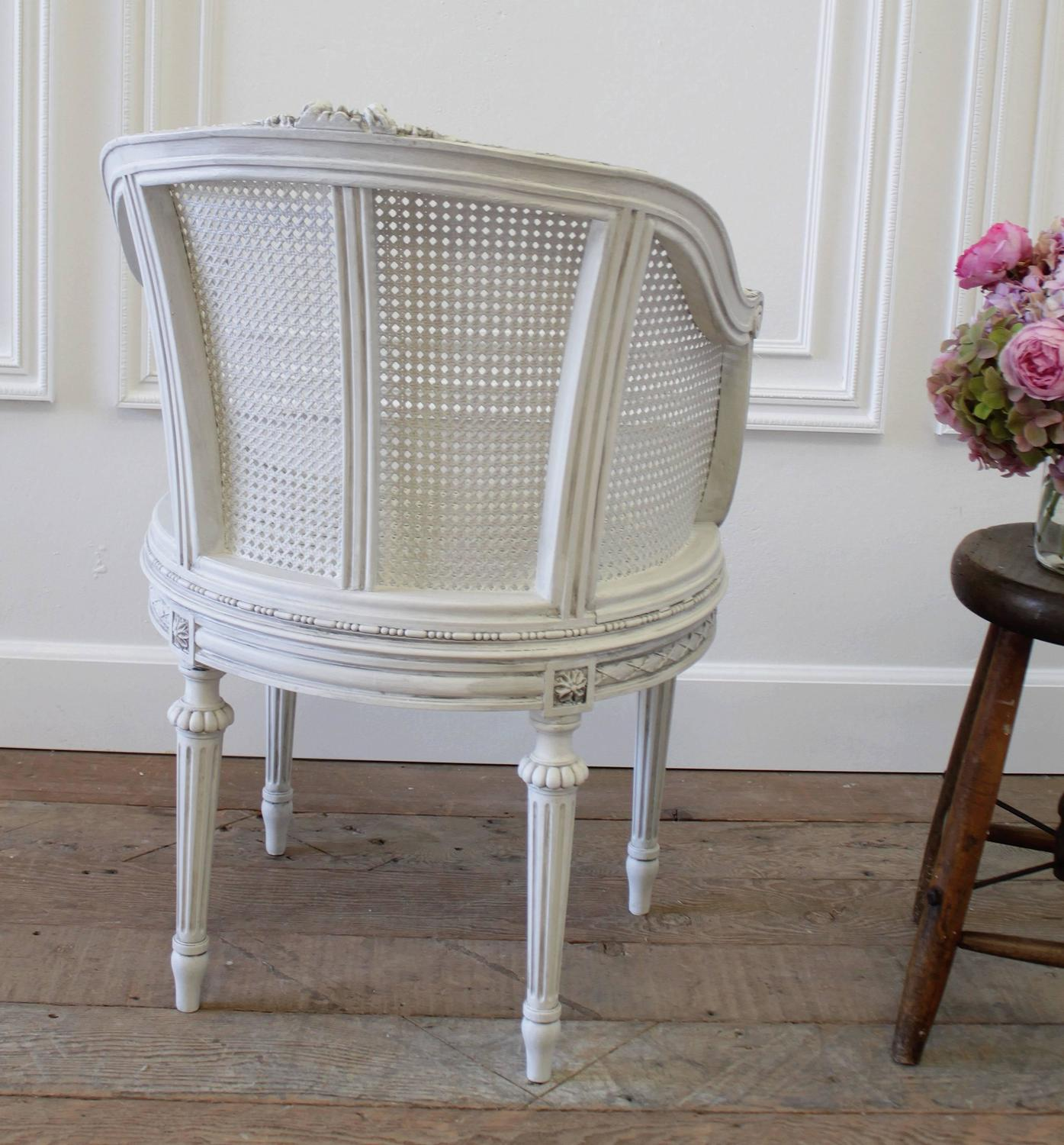 Antique Louis XVI French Painted Cane Barrel Chair With Rose Carvings At  1stdibs
