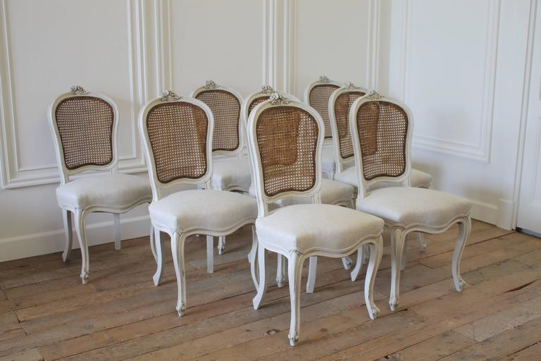 Set Of Eight Vintage French Painted Cane Back Dining