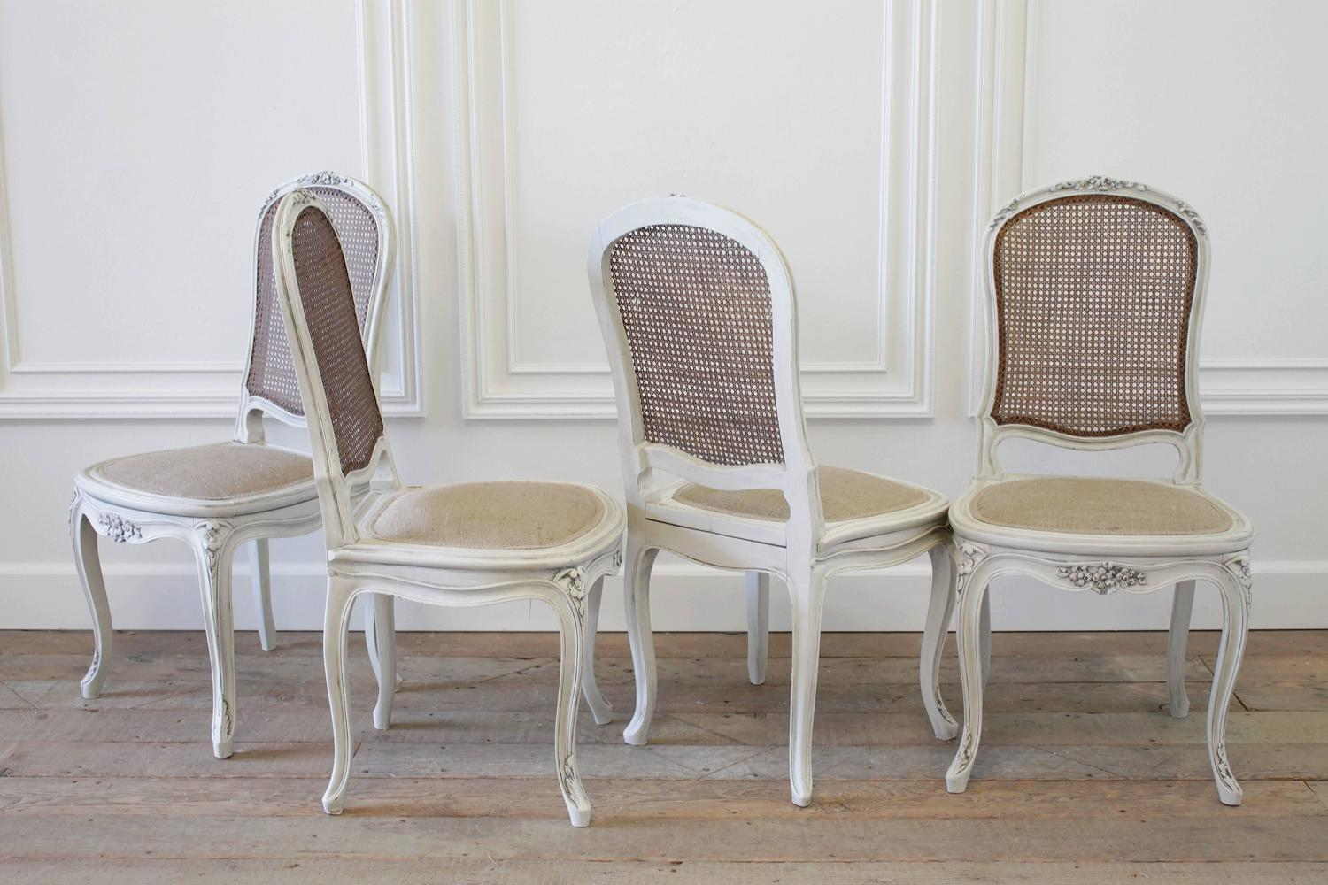four louis xv style french painted cane back dining chairs at 1stdibs