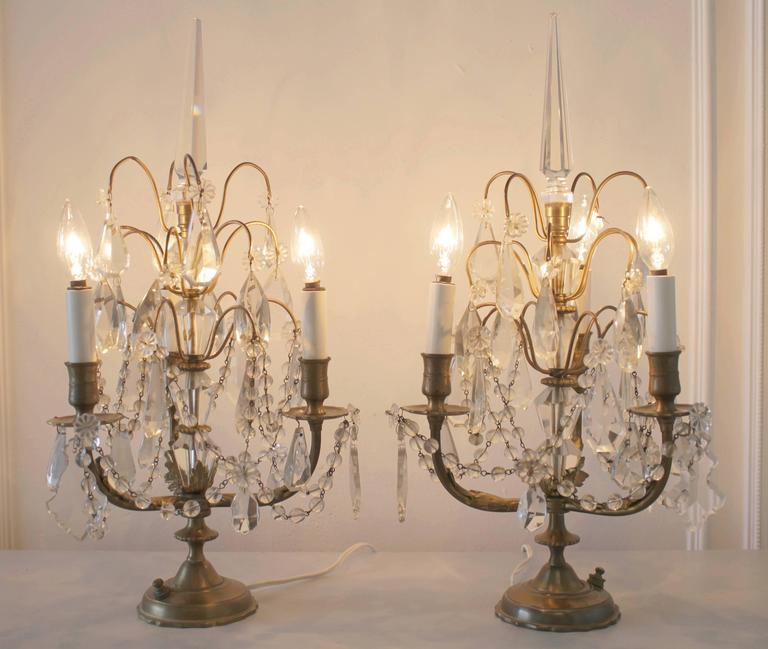 Pair Of Brass And Crystal Girandole Lamps For Sale At 1stdibs