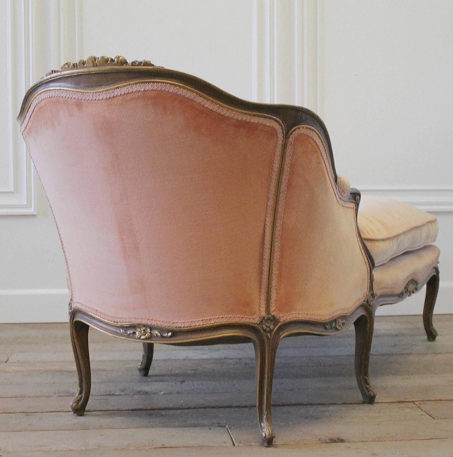19th century antique french louis xv style chaise longue in vintage velvet at - Chaises vintage occasion ...