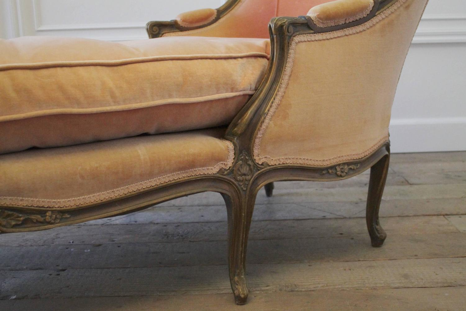 19th century antique louis xv style chaise longue in vintage velvet at 1stdibs