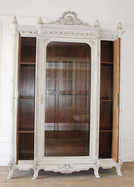 Armoires & Wardrobes Antique French Painted Armoire Display Cabinet