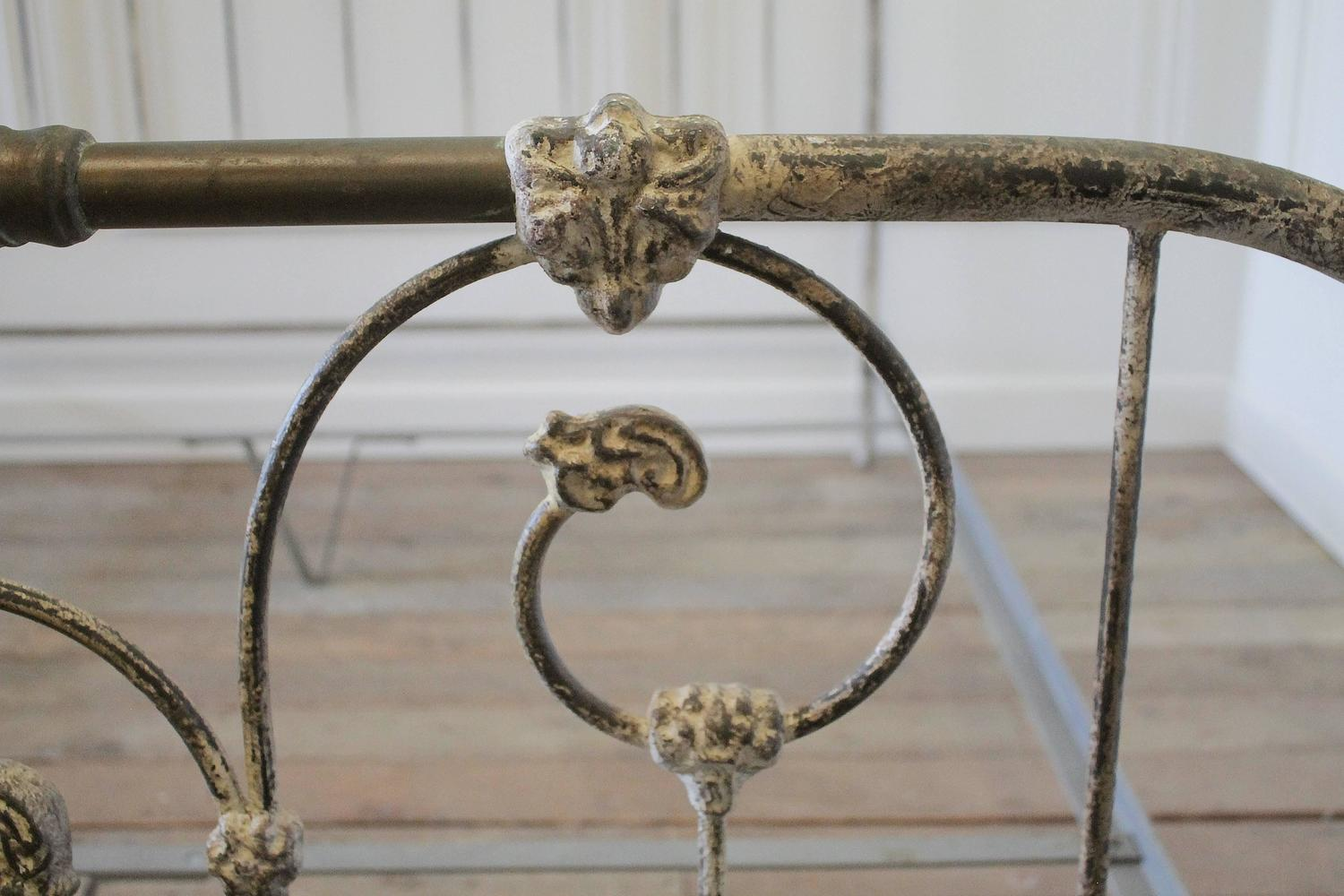 Vintage King Size Parisian Style Iron Bed With Distressed