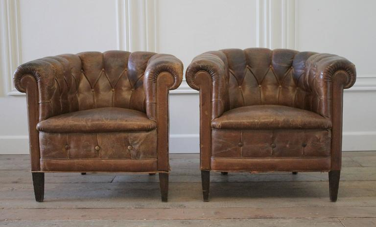 Pair Of French Leather Tub Chairs At 1stdibs