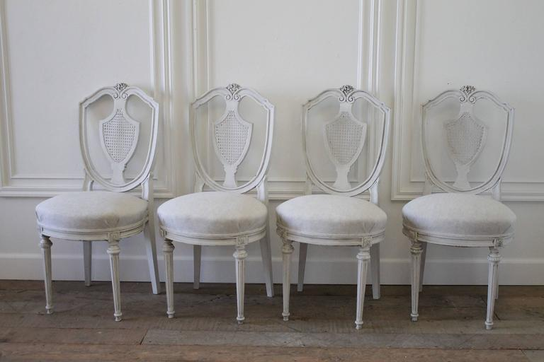 Set Of Four Antique French Cane Dining Chairs At 1stdibs