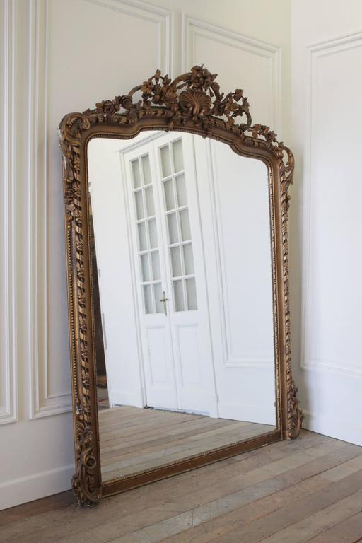 Large Antique French Louis Xv Giltwood Ballroom Mirror At