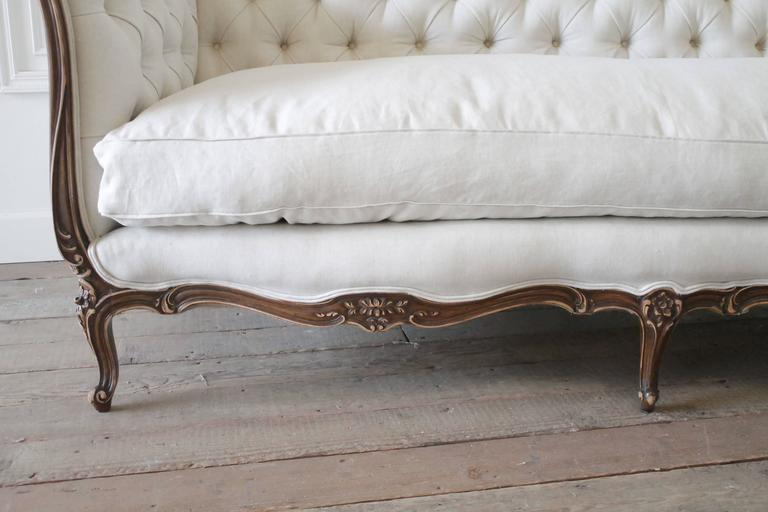 Cool Antique French Louis Xv Style Button Tufted Sofa In Organic Belgian Linen Home Interior And Landscaping Analalmasignezvosmurscom