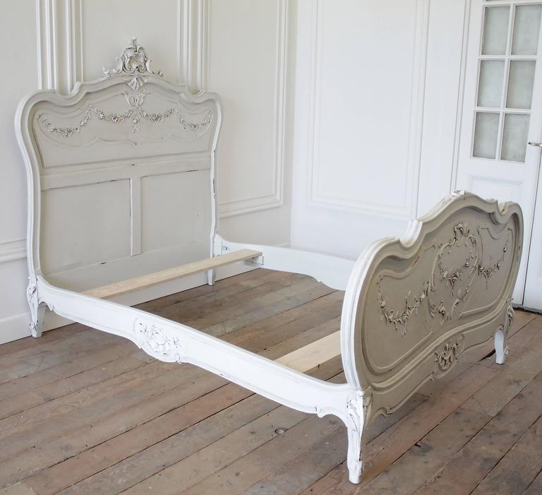 19th Century Painted Louis XV Style French Bed With Roses