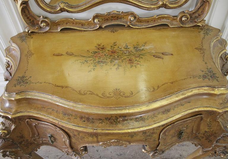 20th Century Italian Polychrome Vanity In The Rococo Style